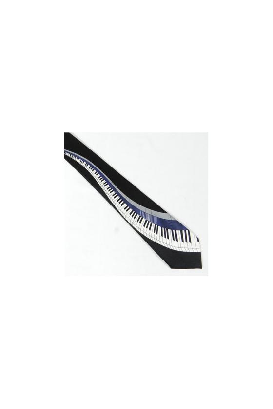 Cravate motif piano / bleu